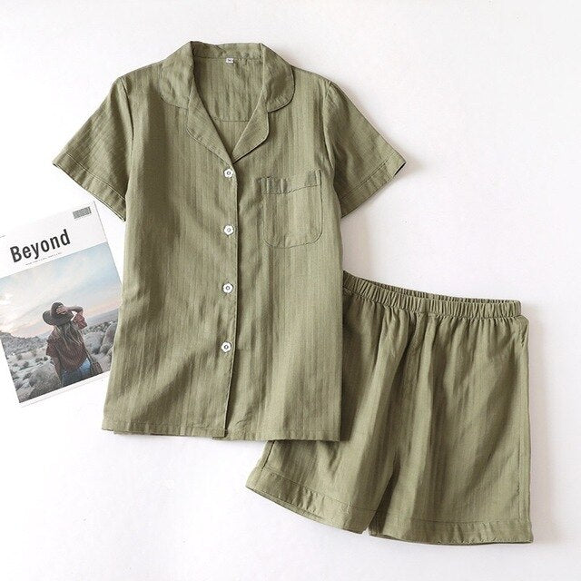 Couple Cotton Pajama Set Short Sleeve+Pants