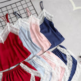 Sexy Silk Pajama Sling Lace Satin Two-piece Sling+Shorts