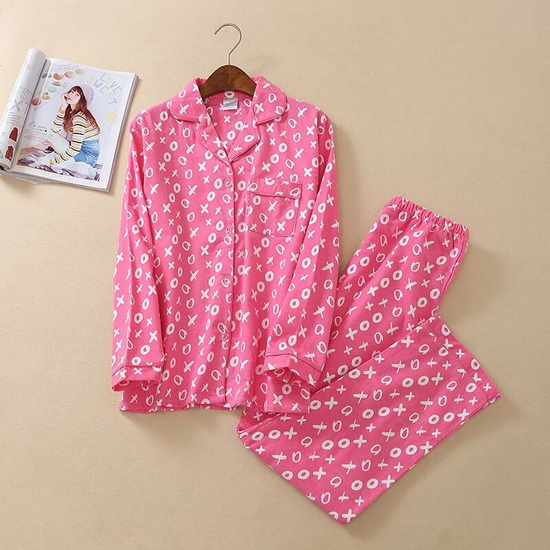 Cotton Pajamas Set for Autumn And Winter 2Pcs Top+Pants