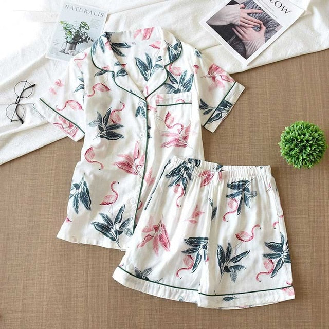 Cotton Pajamas Set Short Sleeve Top + Shorts Cartoon Printed