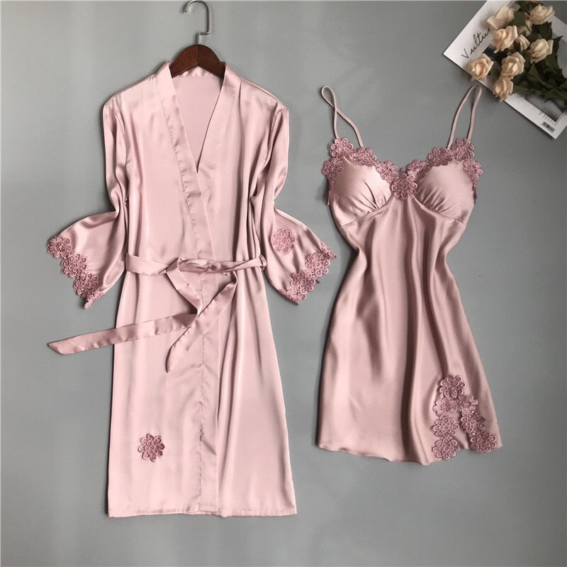 Sexy Satin Dress and Cardigan with Lace