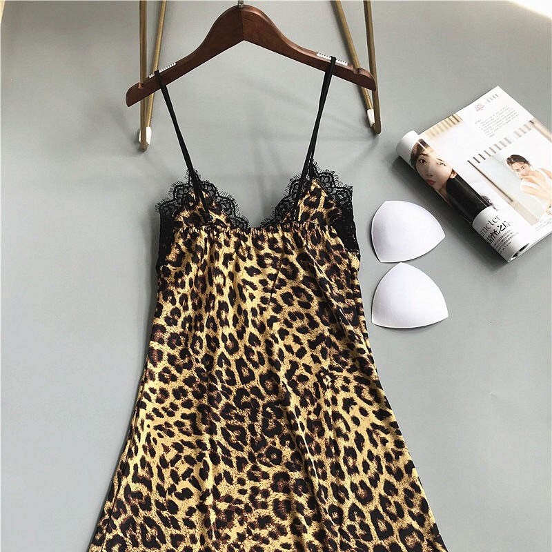 Sexy Sleep Dress Leopard Printed and Lace
