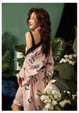 Comfort Silk Satin Nightgown Sling Dress+Cardigan