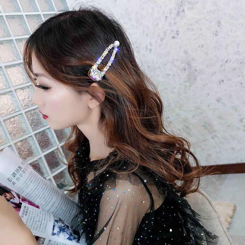 Rhinestone Hairpins for Women Colorful Crystal Pearl Wedding Hair Accessories Jewelry Gifts