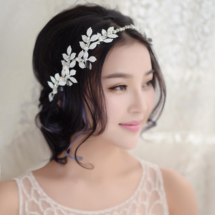 Handmade White Leaves Wedding Bride Tiara Headbands For women Pageant Prom Head Wedding Bridal Hair Jewelry Accessories