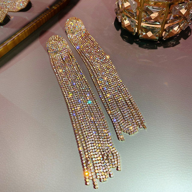 Long Tassel Full Rhinestone Drop Earrings for Women Crystal Dangle Earrings Fashion Jewelry Accessories