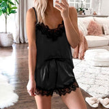 Sexy Silk Pajama Set Top + Shorts