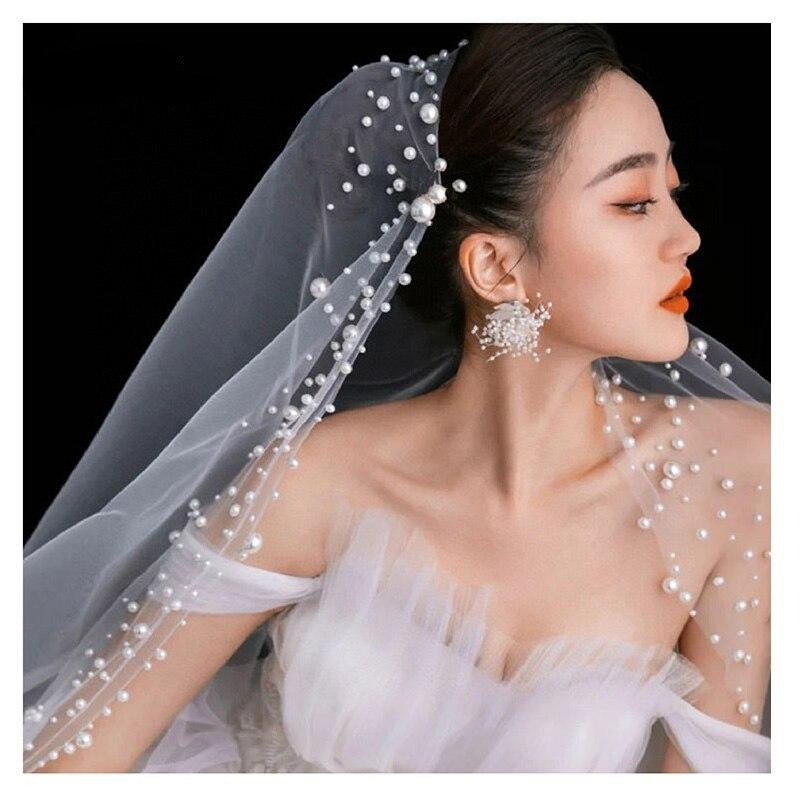 Pearls Luxury long Wedding Veils Cathedral Bridal Veils Wedding Accessories