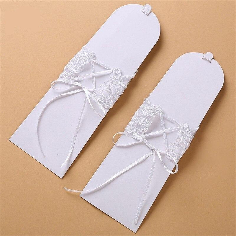 Lace Short Bridal Gloves With Bow Beaded Wedding Gloves White Ivory