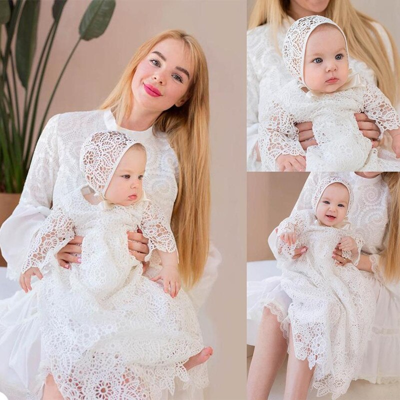 Baby Kids First Communion Dresses Vintage Jewel Neck with 3/4 Sleeve