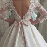 Lace Appliques Backless Wedding Dresses 3/4 Sleeves Elegant Simple Bridal Dresses