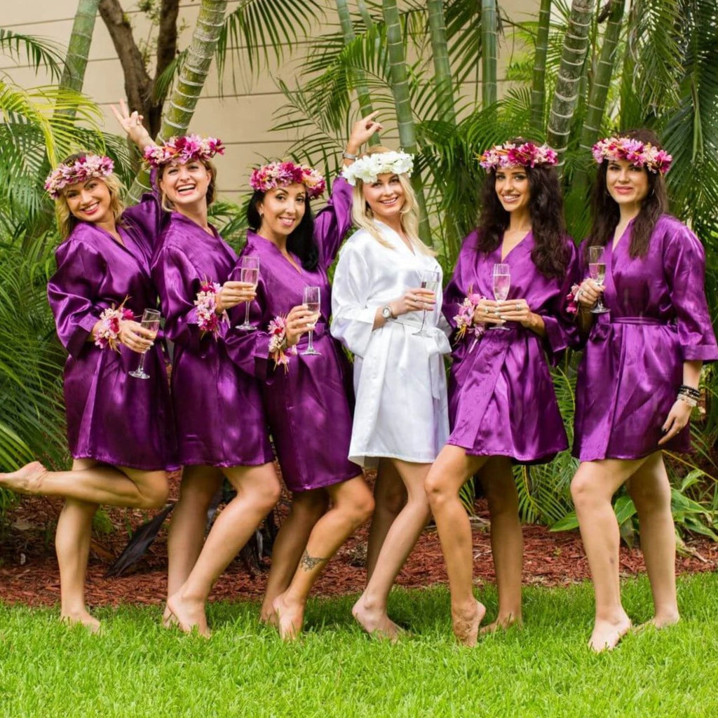 Purple satin bridesmaid robes - Bridesmaid's World