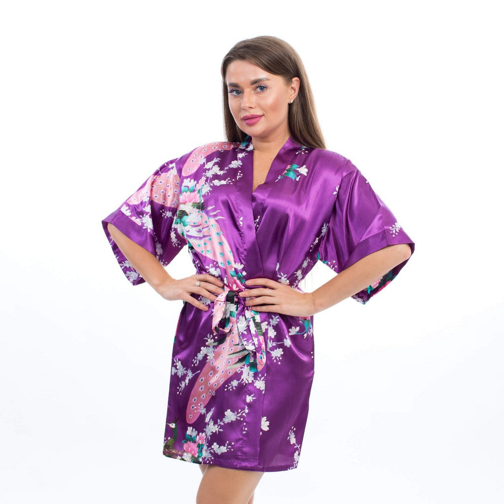Plus size Purple Bridesmaid Floral Peacocks Kimono Robes - Bridesmaid's World