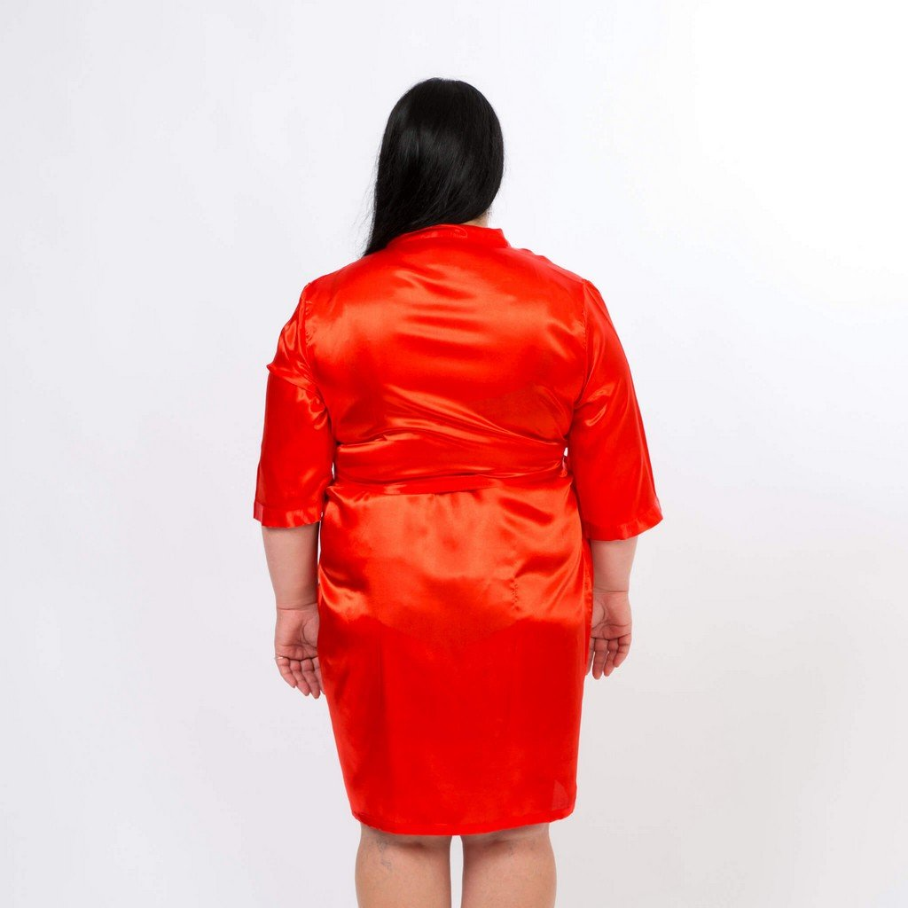 Plus size Red satin bridesmaid robes - Bridesmaid's World