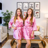 Plus size Rose Gold satin bridesmaid robes - Bridesmaid's World