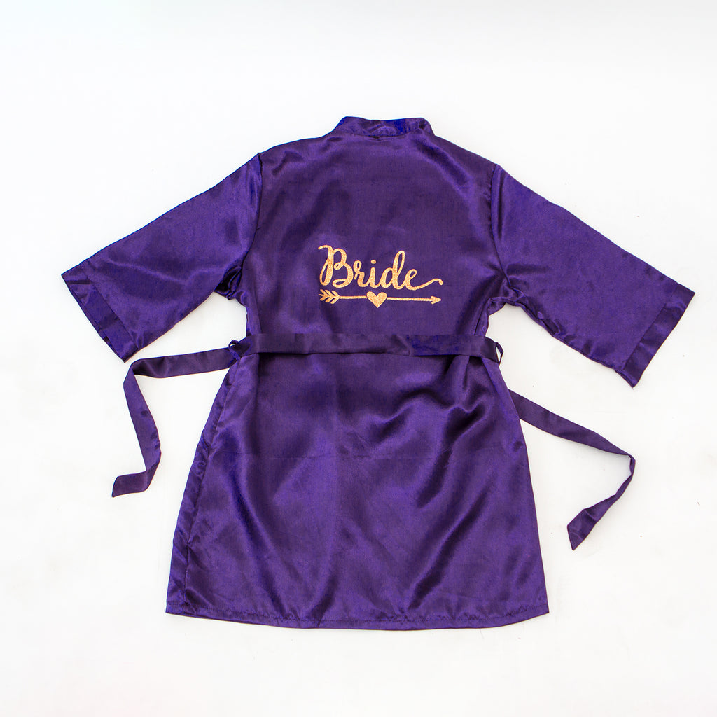 "Sample Sale - Satin Purple Robes ""Bride"" in Rose Gold Glitter, Size: S"