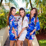 Plus size Royal Blue Bridesmaid Floral Peacocks Kimono Robes - Bridesmaid's World