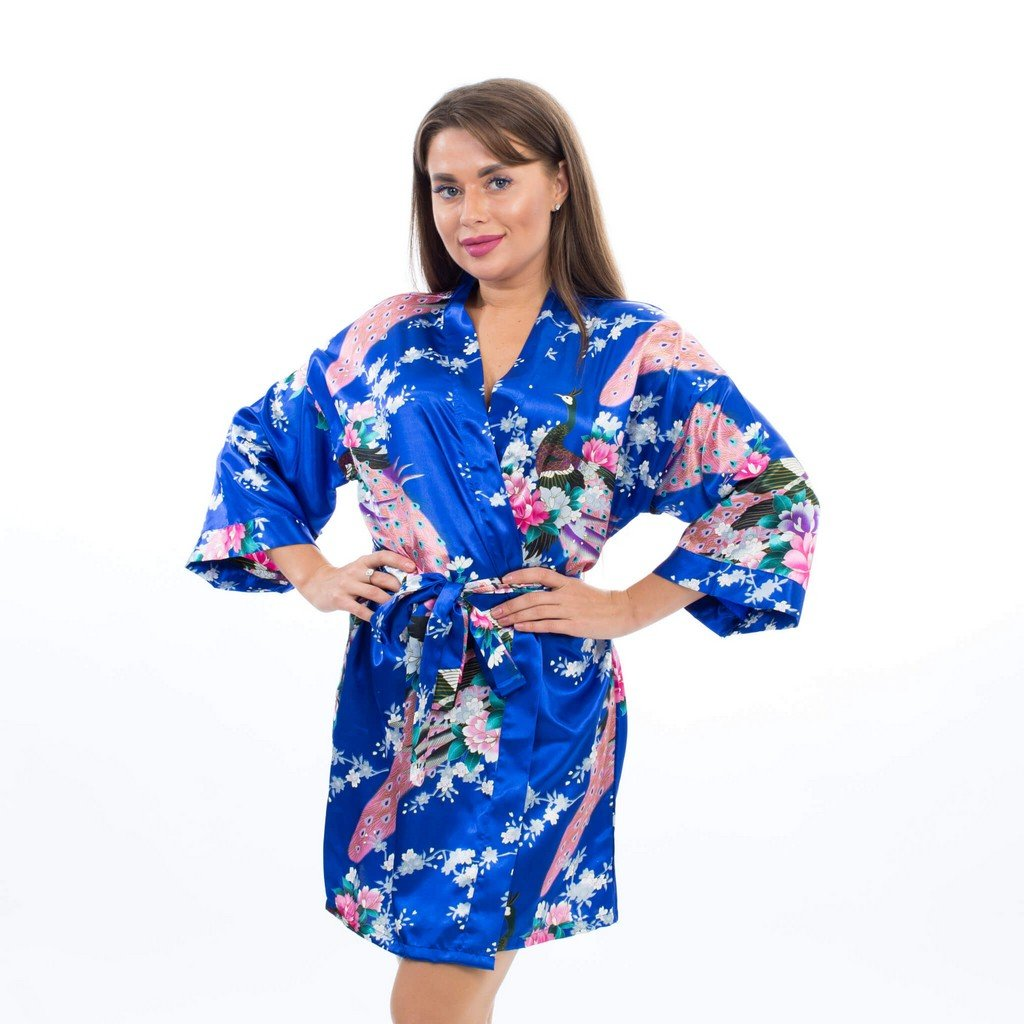 Royal Blue Bridesmaid Floral Peacocks Kimono Robes - Bridesmaid's World