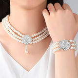 Round Imitated Pearl Dubai Bridal Jewelry Sets Statement Wedding Bracelet Earrings Necklace Sets