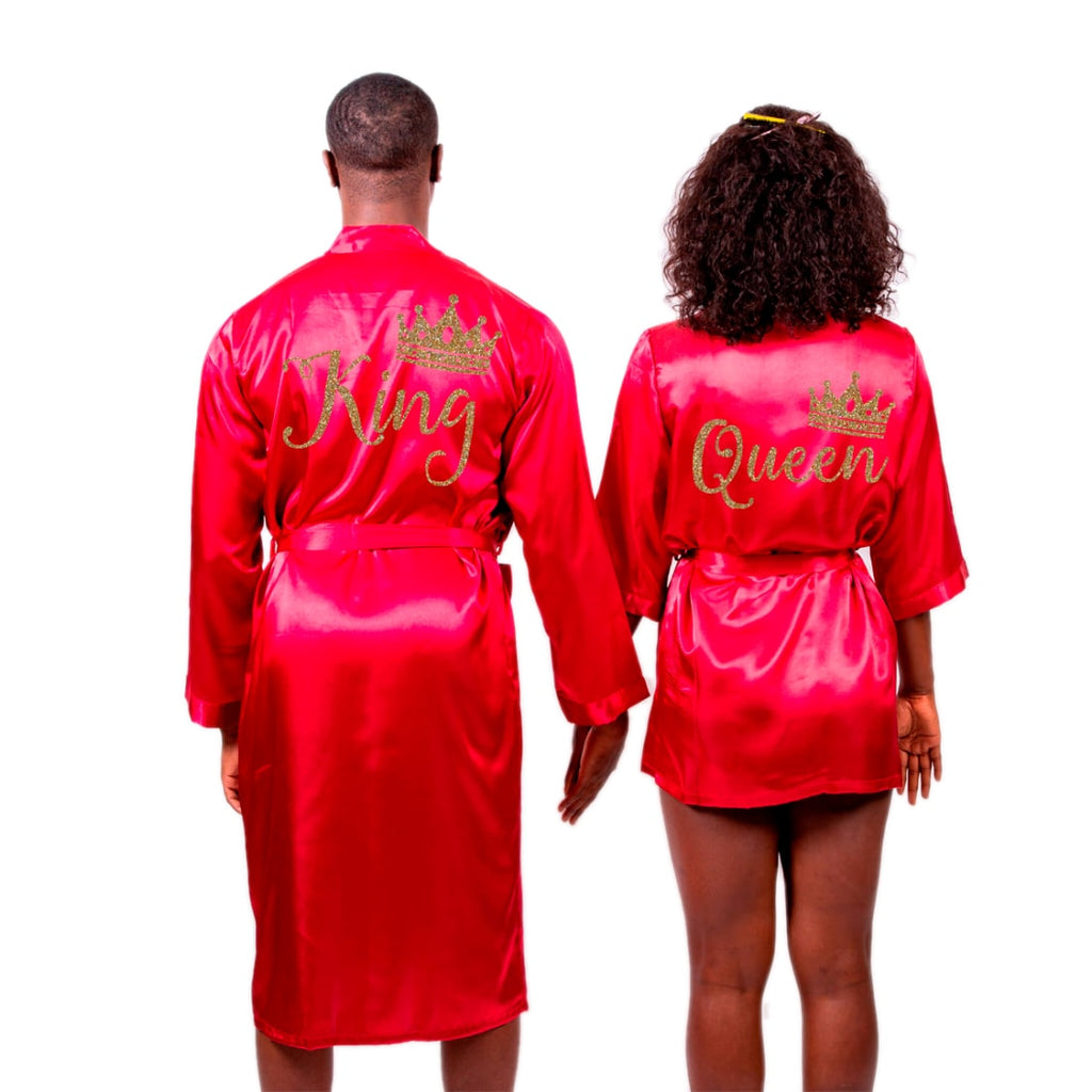 Satin King and Queen Matching Family Robes Set with Personalization
