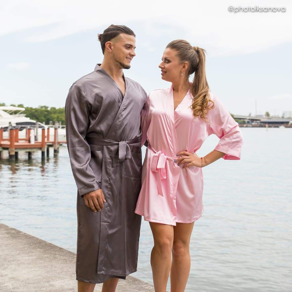King and Queen Matching Family Satin Robes Set With Personalization - Bridesmaid's World