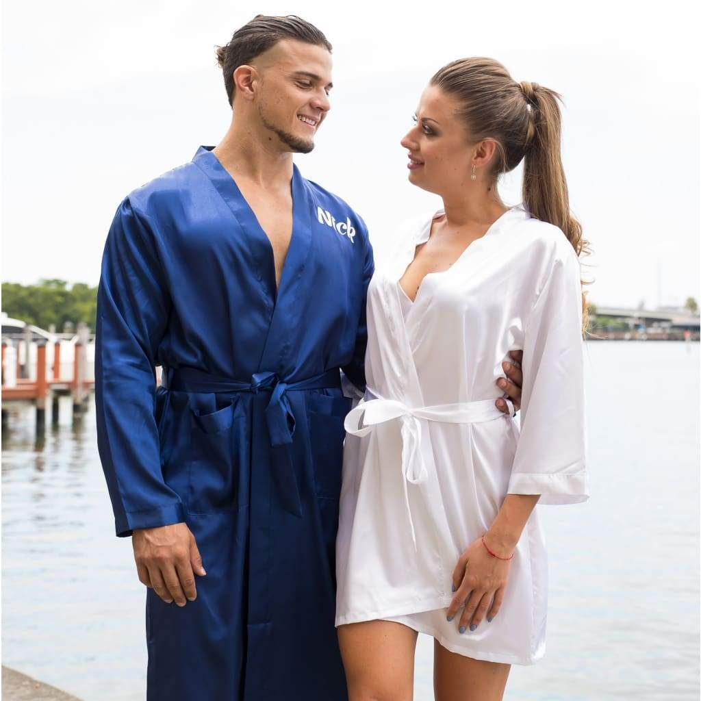Matching His and Hers Satin Robes for couples - Bridesmaid's World