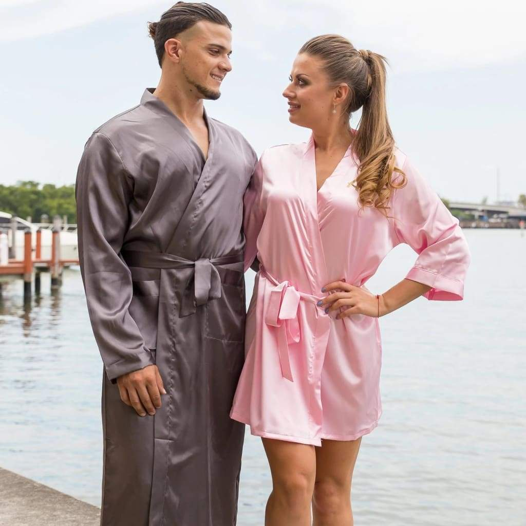 Matching Men's and Women's Satin Robes - Bridesmaid's World