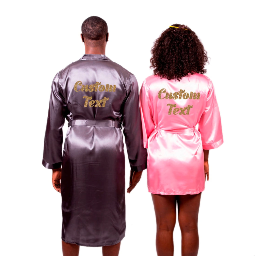 Satin Men's and Women's Robes Set with Customization