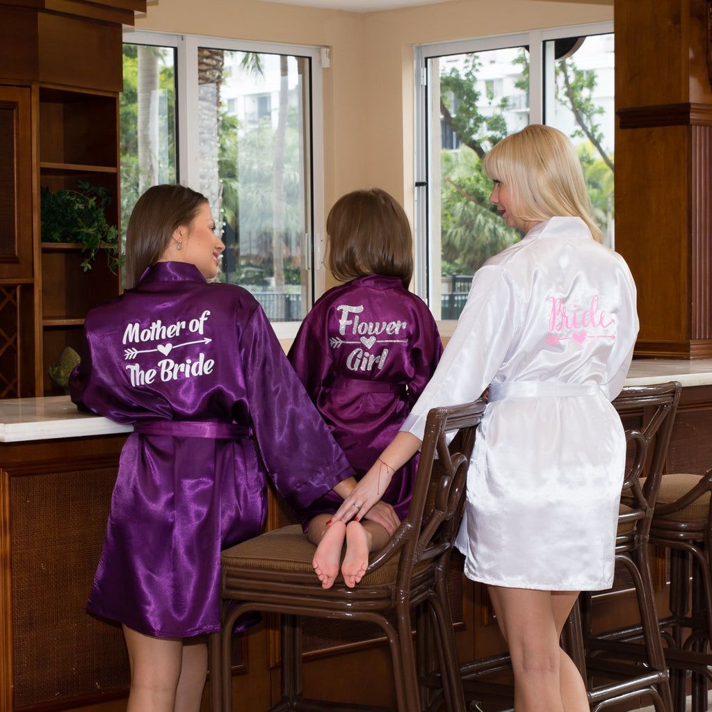 Set of 4 Robes Bridesmaid Satin Robes