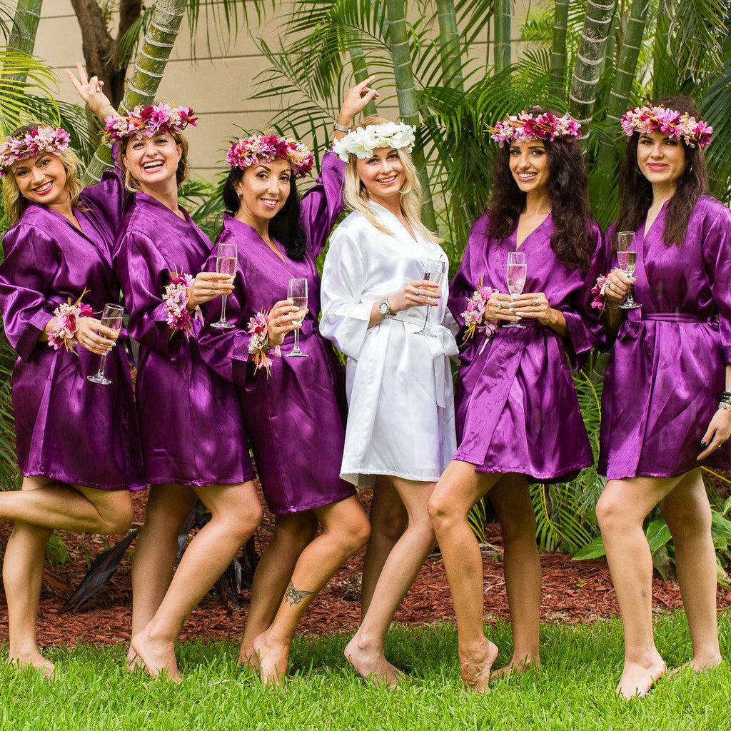 Set of 6 Robes Bridesmaid Satin Robes