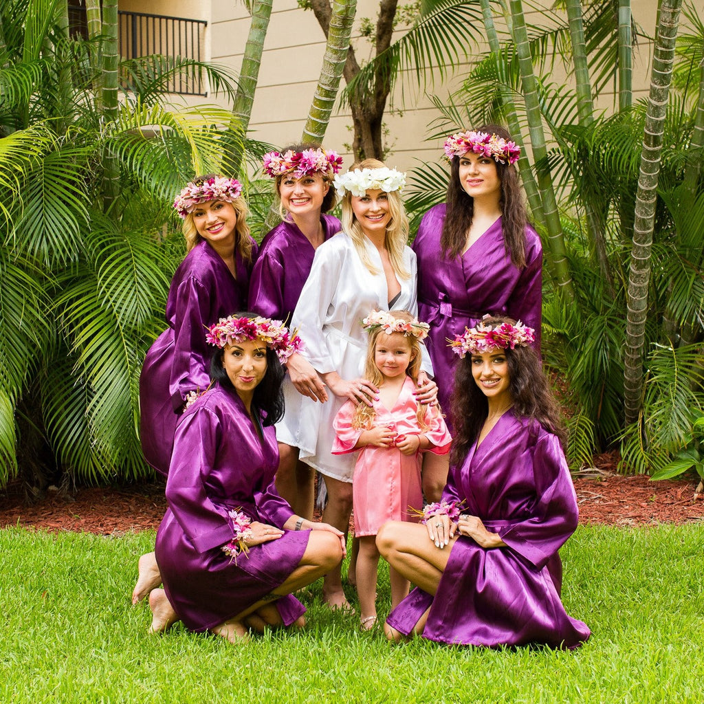 Set of 7 Robes Bridesmaid Satin Robes