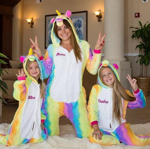 Rainbow Unicorn Hooded Union Suit Pajamas
