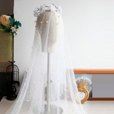Princess Wedding Veil With Pearl Tulle Bridal Veil Beaded Bride Accessories Women Veils With Comb