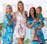 Plus size White Bridesmaid Floral Peacocks Kimono Robes - Bridesmaid's World