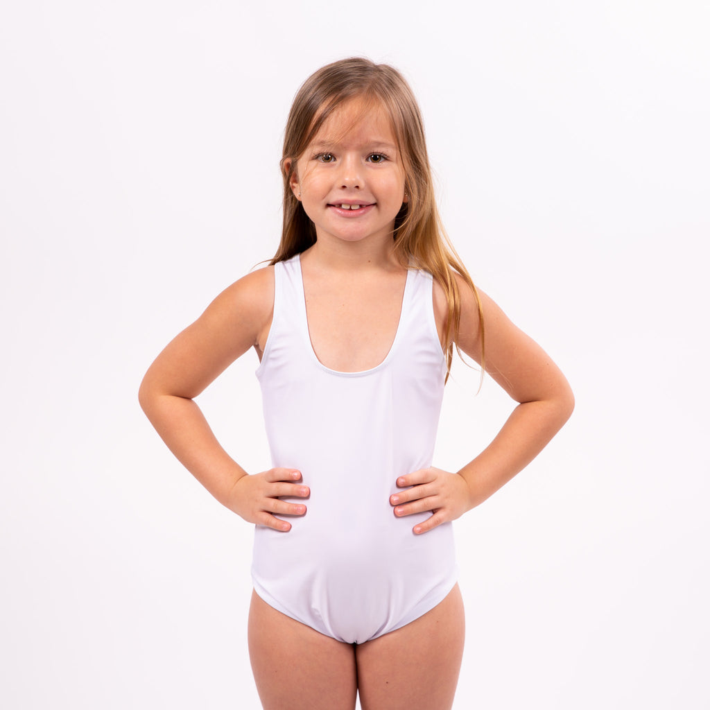 Sample Sale - Kids White Swimsuit, Size: 4Y, 8Y