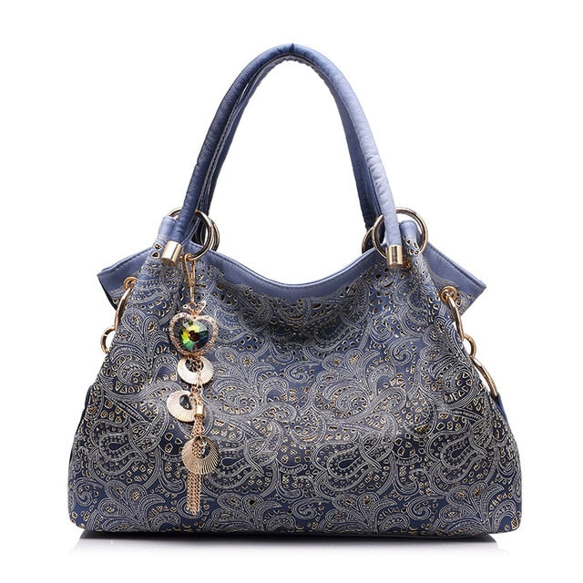 REALER brand women bag hollow out ombre handbag floral print shoulder bags ladies pu leather tote bag red/gray/blue