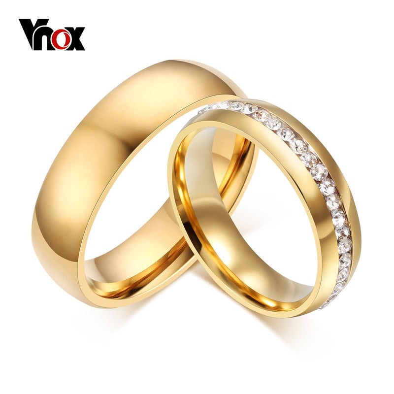 Gold-color Wedding Bands Ring for Women Men Jewelry 6mm Stainless Steel Engagement Ring US Size 5 to 13 Anniversary Gift