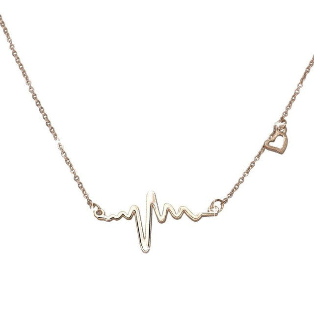 Fine jewelry Stainless Steel Heart Beat Pendant Heartbeat Statement Necklace Chain ECG Necklace