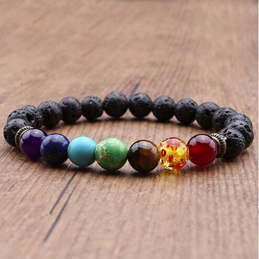 7 Beaded Bracelet Natural Lava Stone Diffuser Bracelet Jewelry