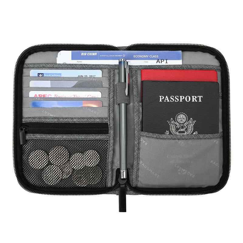 BAGSMART Mutifunction Travel Passport Bag RFID Passport ID Card Holder Bank Card Bag Clutch Holder Zipper Case Purse