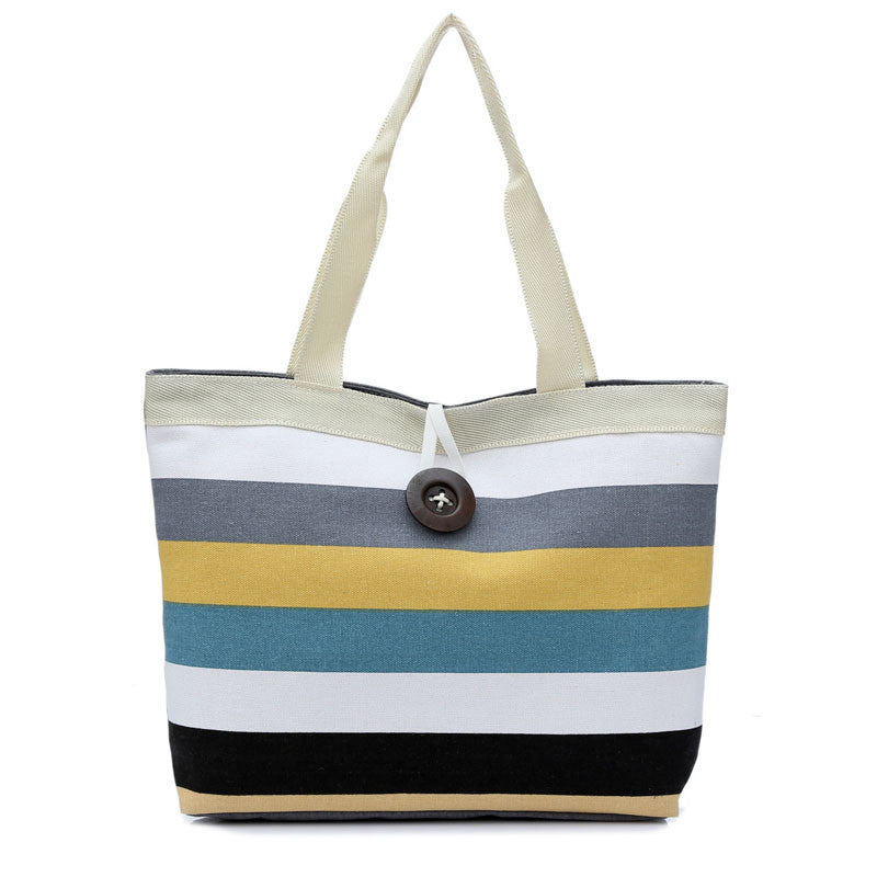 Lady Colored stripes Shopping Handbag Shoulder Canvas Bag Tote Purse
