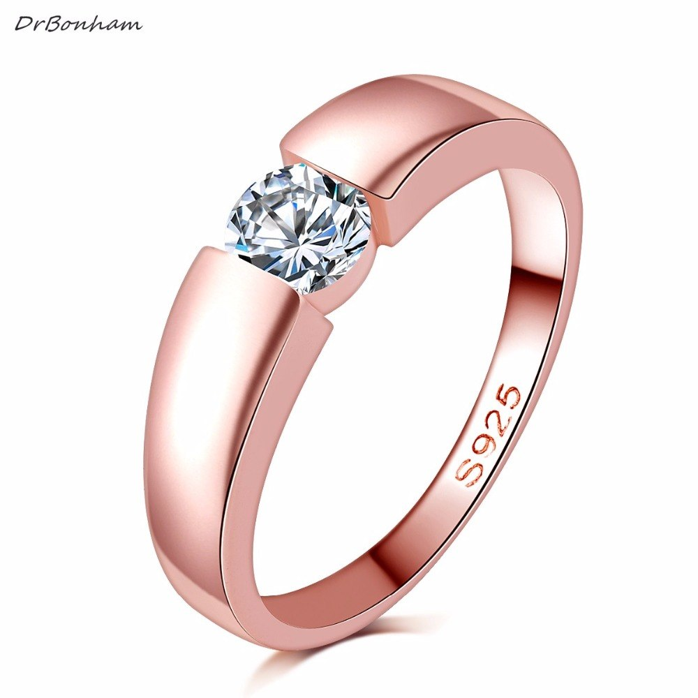 high quality rose gold filled zircon stone rings Top Design engagement Band lovers Ring for Women Men