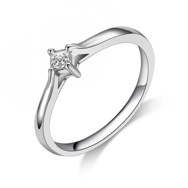 CARSINEL Brand Trendy Couples Ring Silver color CZ Engagement Ring for Women and Men Rings