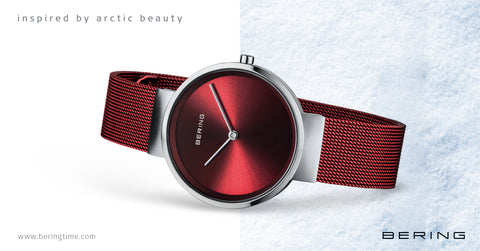 Bering Red Mesh watch perfect gift for Christmas