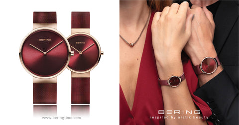 Bering Red Mesh couple watch perfect gift for Christmas