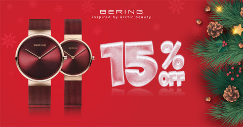 Bering Red Mesh couple watch - 15 percent off