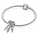 Dreamcatcher sterling silver heart charm