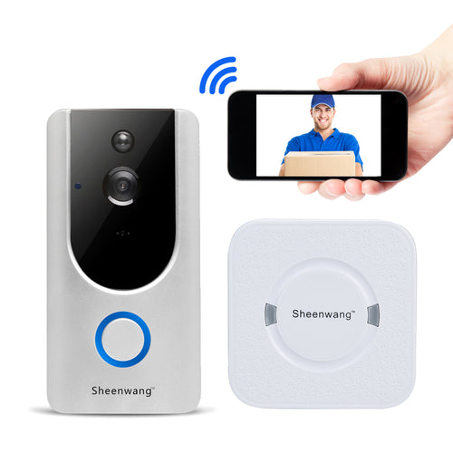 Sheenwang Smart Video Doorbell, WiFi Video Doorbell Chime Kit, Security Doorbell Camera, with 8G Memory Storage, Motion Detection & Built-in Speaker for iOS/Android APP Remote Control (Chime Included)