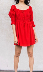 Red Gauze Gathered Dress