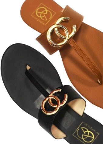 Sandals with gold embellishment